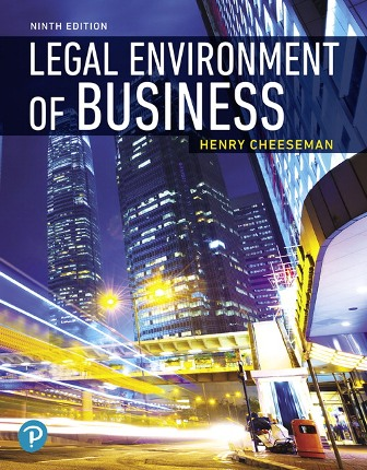 Test Bank for Legal Environment of Business 9th Edition Cheeseman ISBN-10: 0135173957