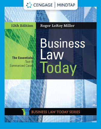 Test Bank for Business Law Today, The Essentials, 12th Edition Miller